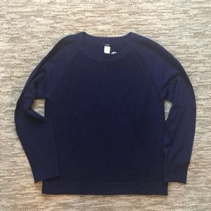 J. Crew XL Navy Cotton Waffle Pullover Sweater